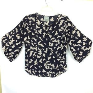 MAEVE | Navy Peasant Blouse 3/4 Sleeve Dove Print